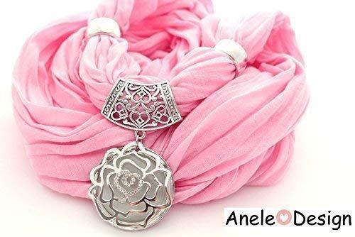 Écharpe bijou Rose argente rose fleur