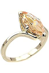 7.2 cw CZ, 14k Gold Overlay Champagne CZ Ring