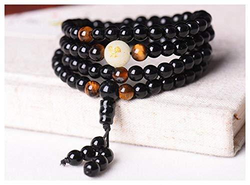 Black Buddha Beads Bangles & Bracelets Handmade Jewelry Ethnic Glowing in The Dark Bracelet for Women or Men hxx824z290-6mm Rooster deep Thinkers]()