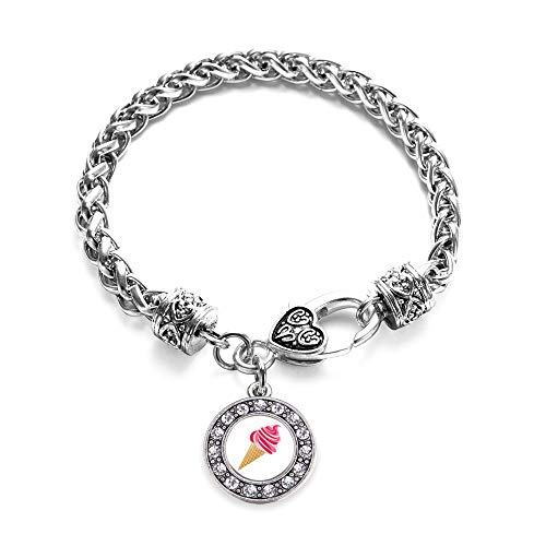Inspired Silver - Ice Cream Cone Lovers Braided Bracelet for Women - Silver Circle Charm Bracelet with Cubic Zirconia Jewelry (Ice Cream Cone Bracelet)