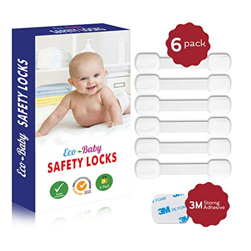 (Eco-Baby Child Safety Cabinet Locks,Drawers, Oven, Toilet Seat, Fridge and More | Multi-Purpose Use | No Tools Required | Super Strong 3M Adhesive with Adjustable Strap and Latch System (6-Pack))