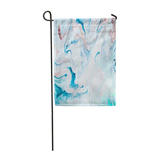 (Tarolo Decoration Flag Green Abstract Marble Eastern Technique Contemporary for Websites Watercolor Agate Aqua Thick Fabric Double Sided Home Garden Flag 12