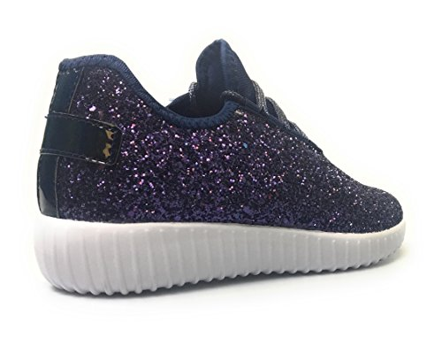 5 Leatherette Quilted Women Stylish Up Low Up Top Lace Metallic Sneaker Shoe Fashion Lace 5 remy Weight 18 Light Glitter Navy xwqApBwTX