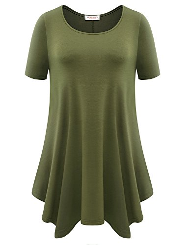 BELAROI Womens Basic Solid Loose Fit Short Sleeve Tunic T Shirt (2X, Army Green)