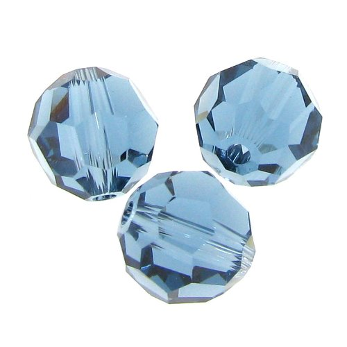 - 6 pcs Swarovski Crystal 5000 Round Faceted Bead Denim Blue 8mm / Findings/Crystallized Element