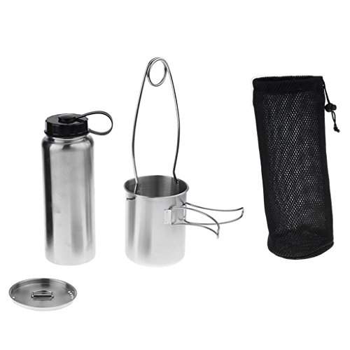 MagiDeal Camping Leak Proof Water Bottle + Sturdy Cup + Mouth Spreader Bottle Hanger ()