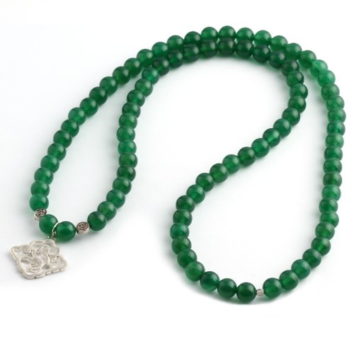 Price comparison product image Moontide Propitious Cloud Green Agate with 925 Sterling Silver Necklace Grounding Stone