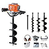 PROYAMA 54CC 2 Stroke Gas Post Hole Digger Earth Auger, Ground Drill with 3 bits (4', 6' and 8') + Extention EPA