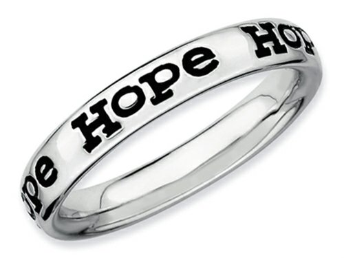 Hope Stackable Ring - Stackable Expressions Sterling Silver Polished Enameled Hope Stackable Ring Size 6