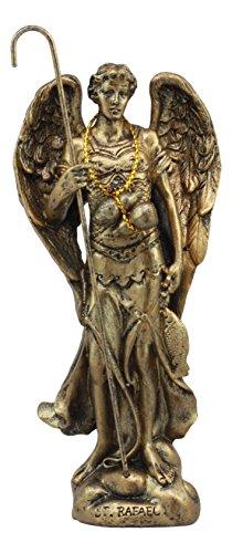 """Ebros Holy Archangel Saint Raphael Statue 5""""Tall Patron Of Annointing Guidance And Healing Of God Collectible Figurine Sacrament of Pennance"""