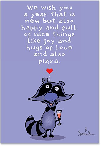 B1226 Box Set of 12 New Year Raccoon Hilarious New Year Paper Cards with Envelopes