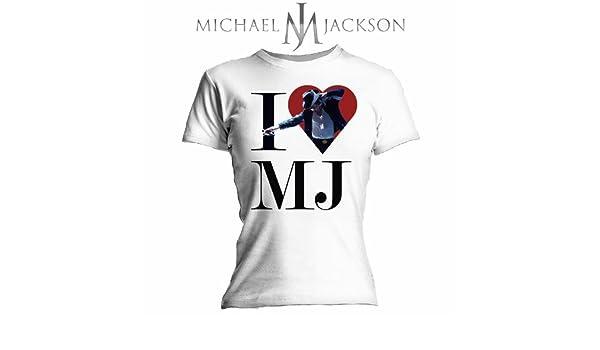 Bravado - Camiseta Mujer Michael Jackson: I Love MJ, Color Blanco, Talla M: Michael Jackson: Amazon.es: Música