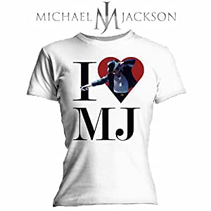 Bravado - Camiseta Mujer Michael Jackson: I Love MJ, Color Blanco, Talla S