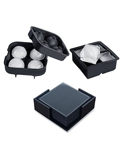 ChillaX Huge Set of 2 Ice Spheres and Whiskey Cubes Tray Combo with Lid and 2 Leather Coasters, Reusable - FDA - - Water Plastic In Will Melt Boiling