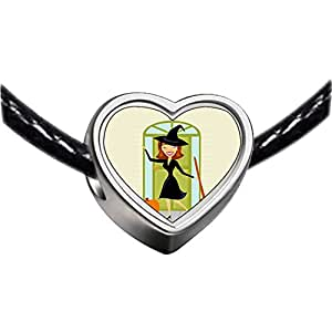 Chicforest Silver Plated sexy Halloween witch broomstick pumpkin Photo Heart Charm Beads Fits Pandora Charm