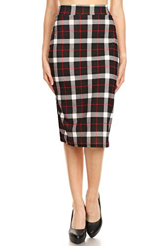 Wear Plaid Skirt - Women's Below The Knee Pencil Skirt for Office Wear - Made in USA (Size X-Large, Black Red Plaid)
