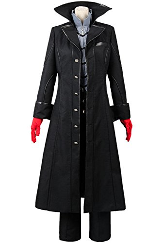 Ya-cos Persona 5 Protagonist Joker Cosplay Costume Coat Suit Jacket Outfit Top Attire Dress Up,Black,Small