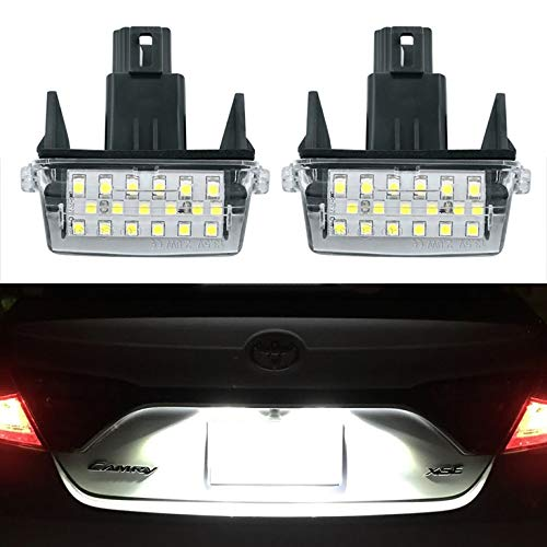 GemPro 2Pcs LED License Plate Light Lamp Assemly For Toyota Camry Yaris Corolla Prius Verso-s, Powered by 18SMD Xenon White LED Lights ()