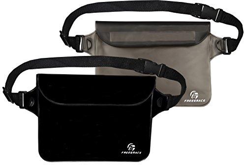 Freegrace Premium Waterproof Pouches (2 pack) with Waist/shoulder Strap (Pure Black(Opaque) + Elegant Black)