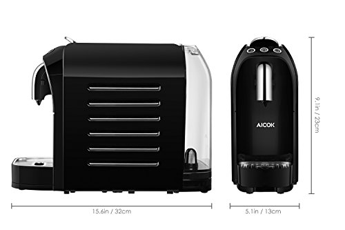 Aicok Espresso Machine for Nespresso Compatible Capsule, 20 Bar High Pressure Pump, 25s Fast Heating with Energy Saving System, Programmable Buttons for Espresso and Lungo, 24 OZ, 1255W, Red & Black