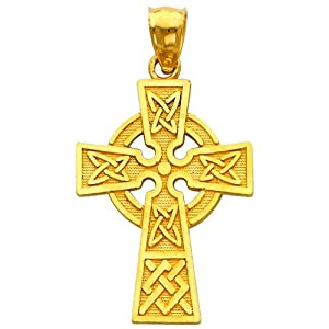 14k Yellow Gold Religious Celtic Cross Charm Pendant