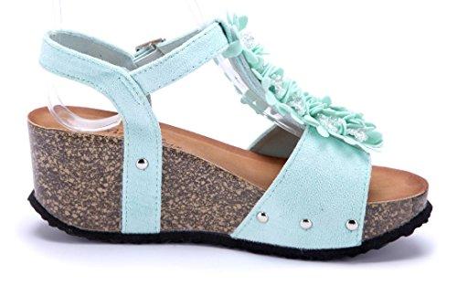 Schuhtempel24 Damen Schuhe Keilsandaletten Sandalen Sandaletten Keilabsatz Blumenapplikation/Nieten 7 cm Grün