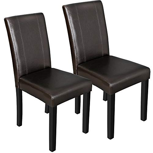 Arin Shop Chair Dining Parson Room Chairs Kitchen Formal Elegant Leather Design 2 Set Brown 23