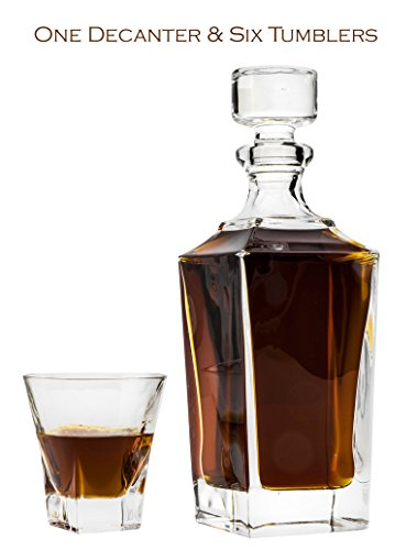 21.3 Oz. Crystal Decanter & Six 5.4 Oz. Heavy-Base Classic Whisky Scotch Brandy Glasses, Wedding Carafe & Whiskey Tumblers, 1+6-Piece (Armenian Brandy)