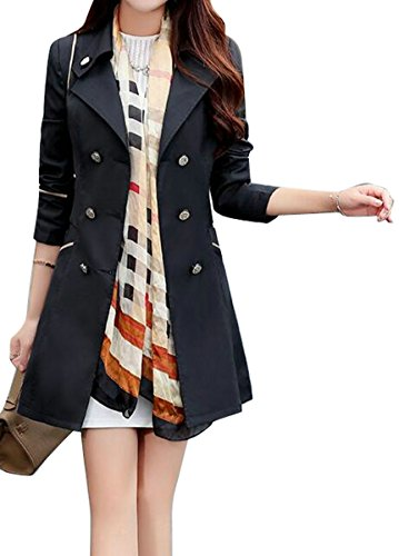 (Fensajomon Womens Lapel Long Sleeve Double-Breasted Classic Trench Coat Overcoat Black M)