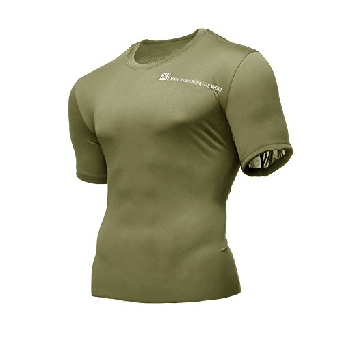 Mens T Shirt Compression Short Sleeve Workout Slim Fit Base Layer Sport Thermal