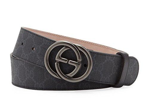 Gucci GG Supreme Canvas Belt, Grey/black (Grigio/nero) 295777