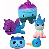FUYAGE Five Pieces Galaxy Squishy,Galaxy Tooth,Galaxy Horse, Galaxy Unicorn, Galaxy Panda and Galaxy Whale Squishies Slow Rising Jumbo Christmas Squeeze Toys