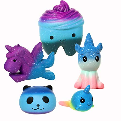 Whale Tooth - Fuyage Five Pieces Galaxy Squishy,Galaxy Tooth,Galaxy Horse, Galaxy Unicorn, Galaxy Panda and Galaxy Whale Squishies Slow Rising Jumbo Christmas Squeeze Toys