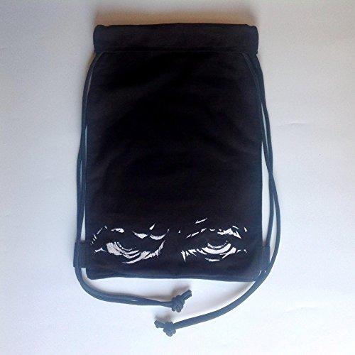 black angry fierce eyes sports bag/ cool teenage sports racksack bag/ vegan Drawstring Bag Backpack Swim School bag/ gift for men (80s Characters)