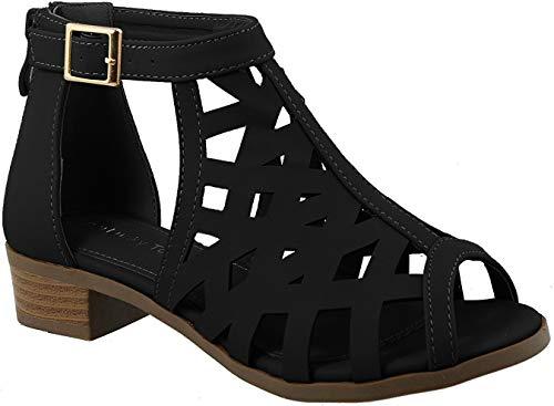 Top Moda Jerry-82 Womens Open Toe Buckle Strap Low Chunky Block Heel Cutout Gladiator Sandals
