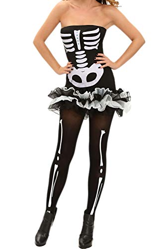 Ytwysj Women Adult Party Fancy Fever Skeleton Halloween Cosplay Party Costume Tutu Dress with Detachable -