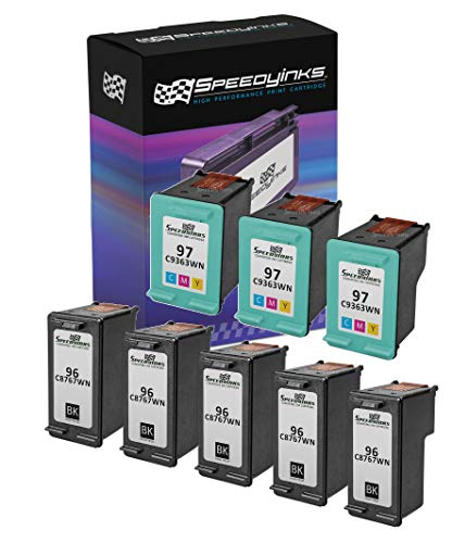 Speedy Inks Remanufactured Ink Cartridge Replacement for HP 96 and HP 97 (5 Black, 3 Color, 8-Pack) ()