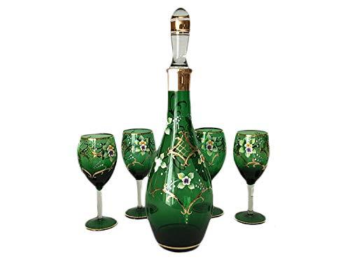 Murano Glass Decanter - Fine Euro-Decor Murano Wine Drinkware Glasses and Decanter - Green