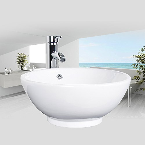 Bathroom Ceramic Vessel Sink Brass Faucet Combo Lavatory Modern Pop Up Drain Contemporary Drop In Countertop; Chrome; 12