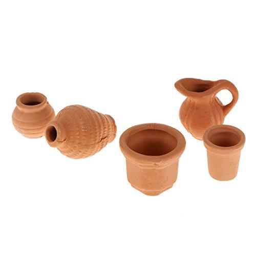 Crock Miniature - 1/12 Scale Dollhouse Miniature Ceramic Crocks Flowerpot Pitcher Light Brown