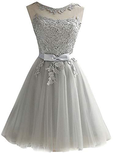 (EileenDor Women's Short Tulle Prom Dresses Grey Graduation Lace Knee Length Junior Bridesmaid Dresses Size 6 )