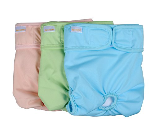 "He&Ha pet Female Dog Diapers Washable Doggie Diaper Reusable Small Padded Cloth Sanitary Panties Set of 3 for Waist 13"" to 16"" Pastel Colors ()"