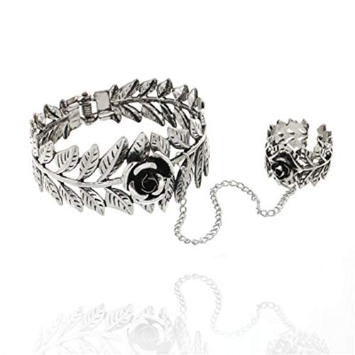 RUIZHEN Antique Silver Leaf Flower Hand Bracelet Hand Chain Tassel Harness Slave Bracelet Link Finger Ring