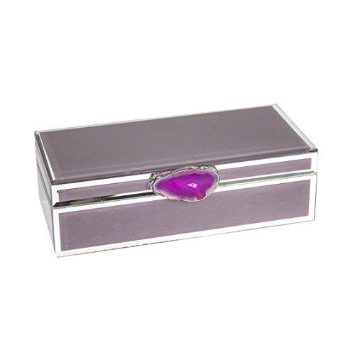 Sagebrook Home Decorative Wood & Glass Storage Box W/Agate, Mauve, 11x5.25x3.25, Pink