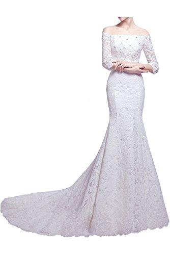Victory Bridal Attraktive Geradekragen Brautkleider Hochzeitskleider Mermaid mit Lange Aermel Spitze