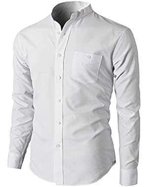 Mens Oxford Cotton Slim Fit Casual Button-Down Shirts Long Sleeve