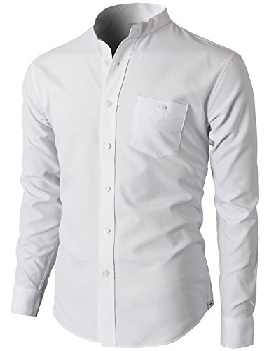 H2H Mens Casual Slim Fit Oxford Mandarin Collar Button-Down Cool Shirt White US L/Asia 2XL (KMTSTL0501) - Mandarin Collar