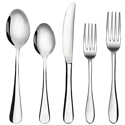 Flatware Set, MCIRCO 5-Pieces Spoons Set 18/8 Heavy-Duty Stainless Steel Flatware Fork Spoon Knife Set with Dinner Spoons, Dinner Knife and Dinner Forks, Service for 1(Tableware Set)