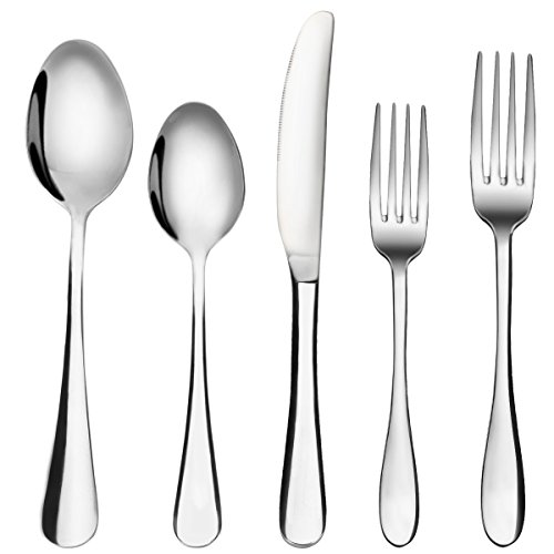 Flatware Set, MCIRCO 5-Pieces Spoons Set 18/8 Heavy-Duty Stainless Steel Fork Spoon Knife Set Flatware Serving Set with Dinner Spoons, Dinner Knife and Dinner Forks, Service for 1(Tableware - Tableware
