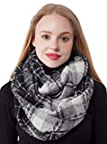 Thick Winter Infinity Scarves for Women Plaid Lightweight Circle Loop Cozy Scarf (X7-1)